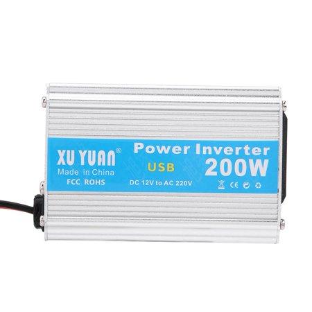 WALFRONT Silver 200W DC 12V to AC 110V Car Power Inverter Converter USB Charger Adapter,Car Power Inverter,12V to 110V Power Inverter - image 2 of 7