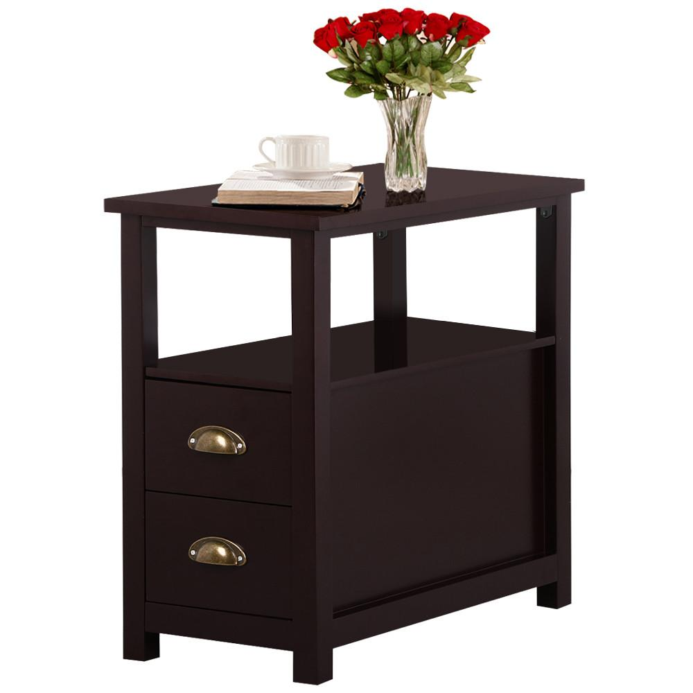 narrow end tables living room yaheetech chairside table with 2 drawer and shelf narrow 20889