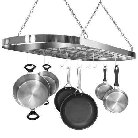 Low Ceiling Oval Pot Rack - Pot and Pan Rack for Ceiling with Hooks — Decorative Oval Mounted Storage Rack — Multi-Purpose Organizer for Home, Restaurant, Kitchen Cookware, Utensils, Books, Household (Hanging Chrome)