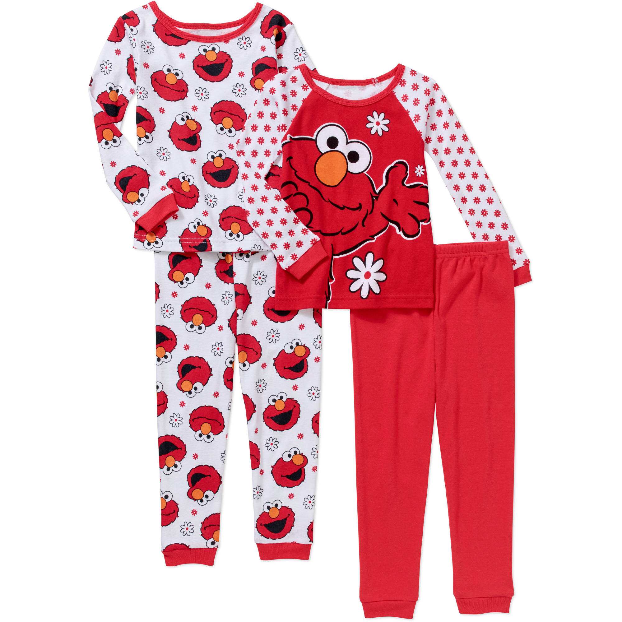 Sesame Street Elmo Baby Toddler Girl Cotton Tight-Fit Pajamas, 4-Piece Mix and Match Set