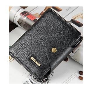 Men Button Closure Vertical Wallet Black