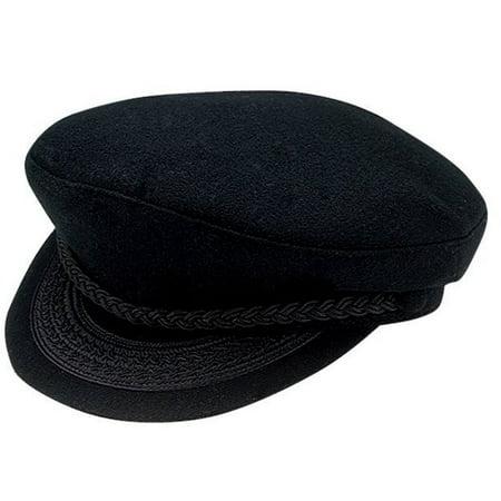 Deluxe Black Greek Fisherman Lennon Hat Cap Braided Wool Felt Costume Accessory (Fish Man Costume)