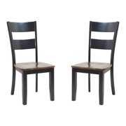 TTP Furnish Solid Wood Sturdy Dining Chair / Modern Kitchen Chair Distressed Light Cherry And Black Set of 2