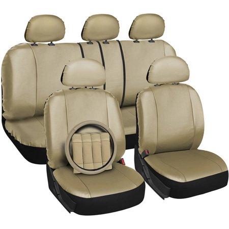Oxgord 17-Piece Set Faux Leather/Auto Seat Covers Set, Airbag Compatible, 50/50 or 60/40 Rear Split Bench, Universal Fit for Car, Truck, or SUV, FREE Stee
