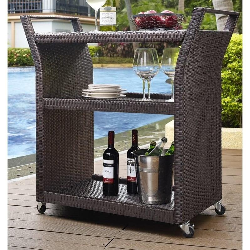 Crosley Palm Harbor Outdoor Wicker Bar Cart