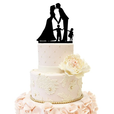 Popeven Wedding Cake Topper with Little Girl and Boy, Bride and Groom Silhouette, Cake Decoration Wedding Anniversary Cake Topper couple with 2 kids (Boy and Girl (Black)