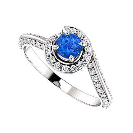 58426af508e05 One Carat Sapphire CZ Swirl Halo Engagement Ring Gold | Walmart Canada