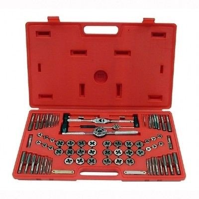 76 Piece Steel Metal SAE Metric Bolt Nut Tap and Die Threading Tool Threader Set