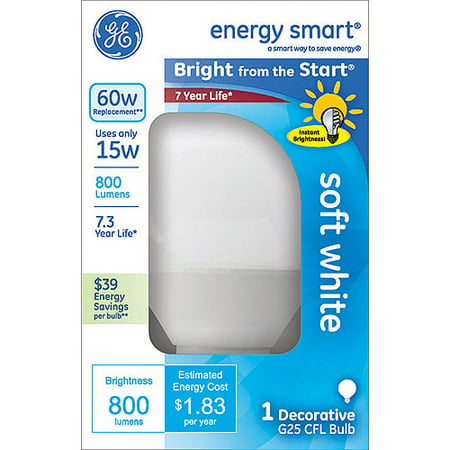 GE 15W Bright From The Start Soft White G25 CFL bulb, 1 pack