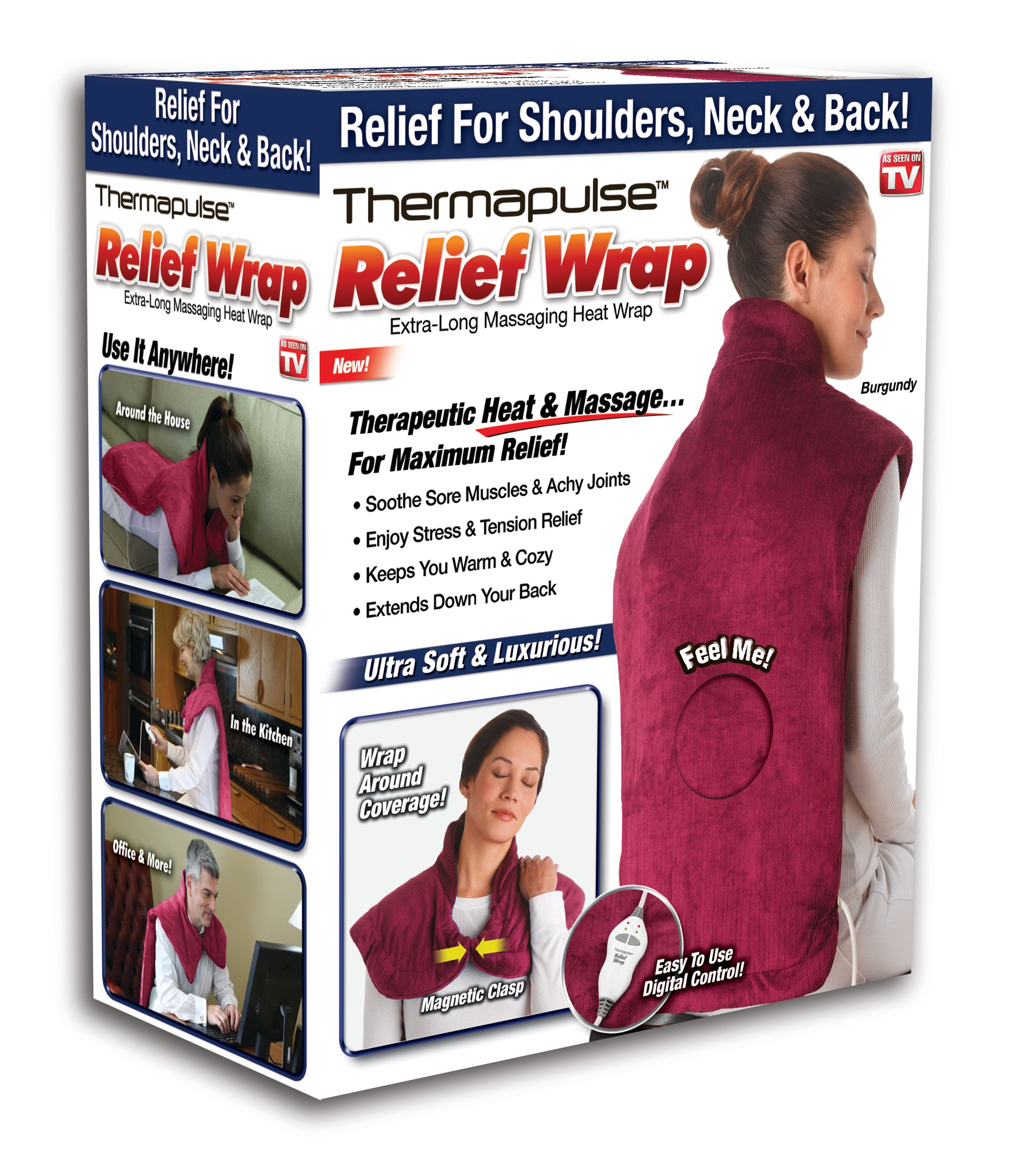 Relief Wrap Heat Therapy Wrap Burgandy As Seen On Tv Walmartcom