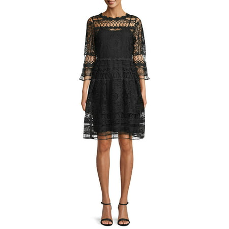 Sui by Anna Sui Women's Lover's Lace Dress with Black Slip
