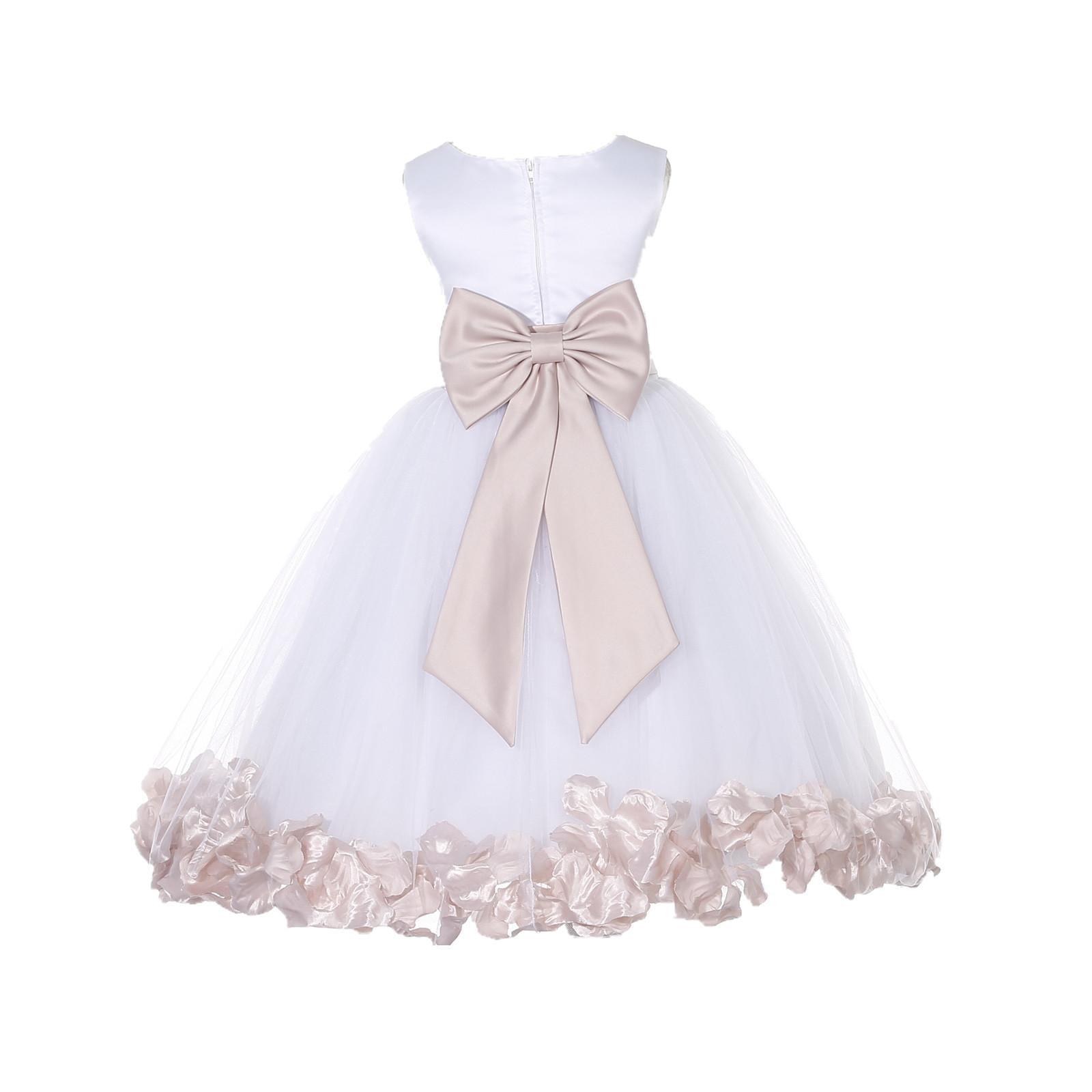 f3ab6ae2d864 Ekidsbridal Wedding Pageant Rose Petals White Tulle Flower Girl Dress  Toddler Junior Bridesmaid Recital Easter Holiday Gown Birthday Girl Dress  Communion ...