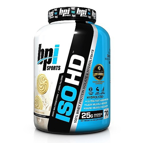 BPI Sports ISO HD 100% Protein Isolate & Hydrolysate, Vanilla Cookie, 4.9 Lb