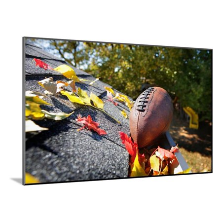 Rain Gutter Full of Autumn Leaves with a Football Wood Mounted Print Wall Art By soupstock