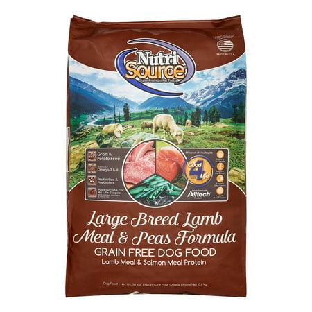 NutriSource Grain-Free Large Breed Lamb Meal & Peas Formula Dry Dog Food, 30 lb
