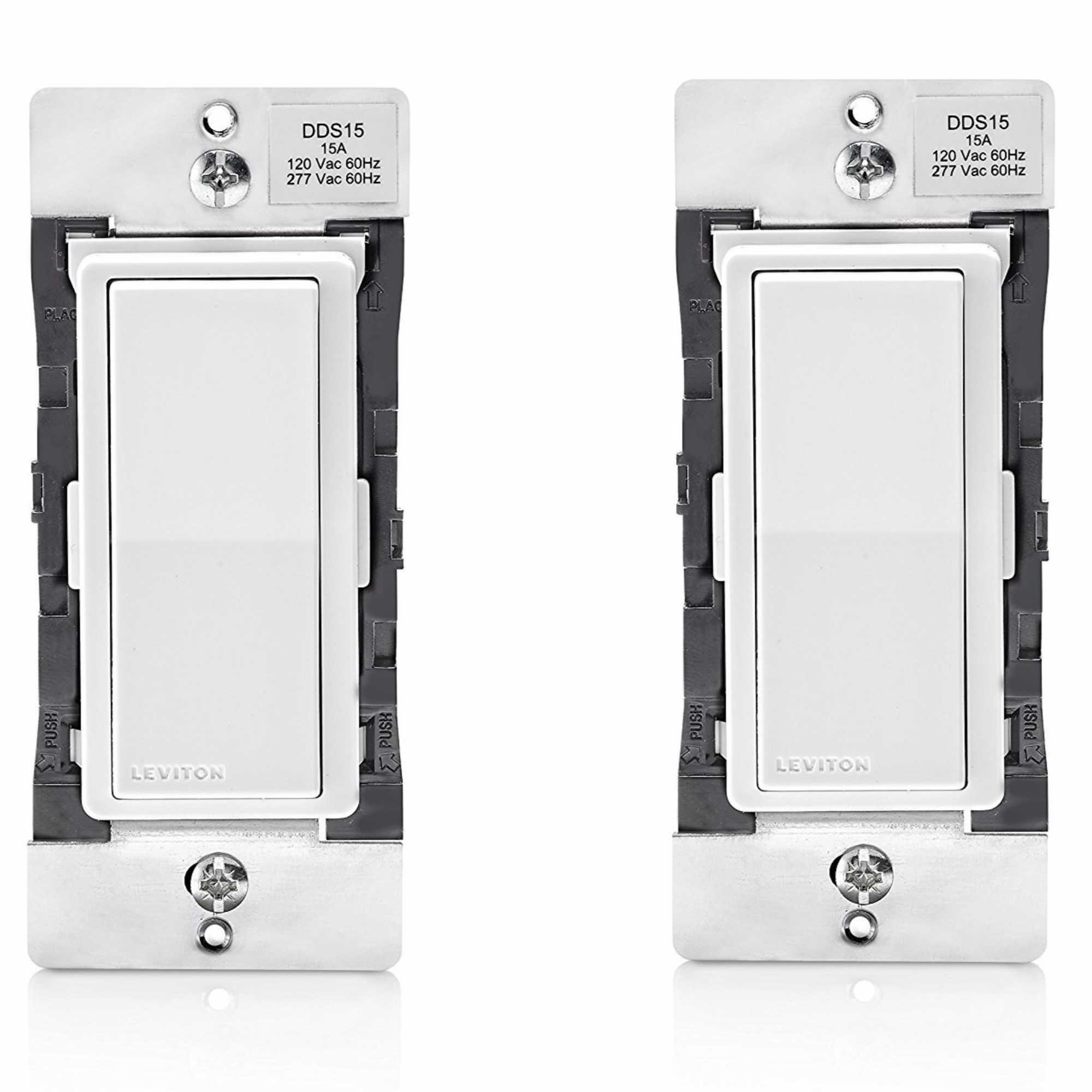 Leviton DDS15-BDZ 15 Amp Dual Voltage 120/277VAC Decora Digital Switch (2 Pack)