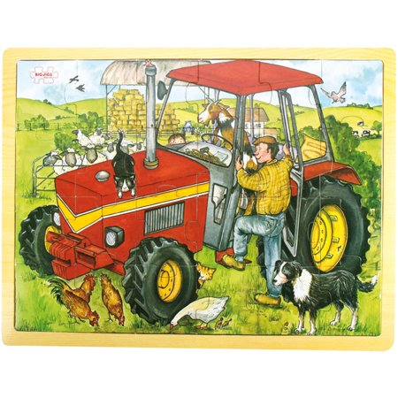 Bigjigs Toys 24-Piece Tray Puzzle, Tractor (Johnny Tractor Puzzle)