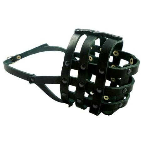 Bulldog Muzzle (Black Genuine Leather Dog Basket Muzzle #109 - Boxer, Bulldog (Circumference 13