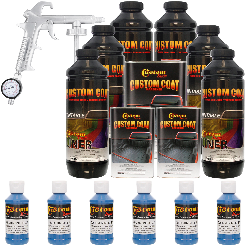 Bed Liner CUSTOM COAT REFLEX BLUE 6-L Urethane Spray-On Truck Kit w/ Spray Gun