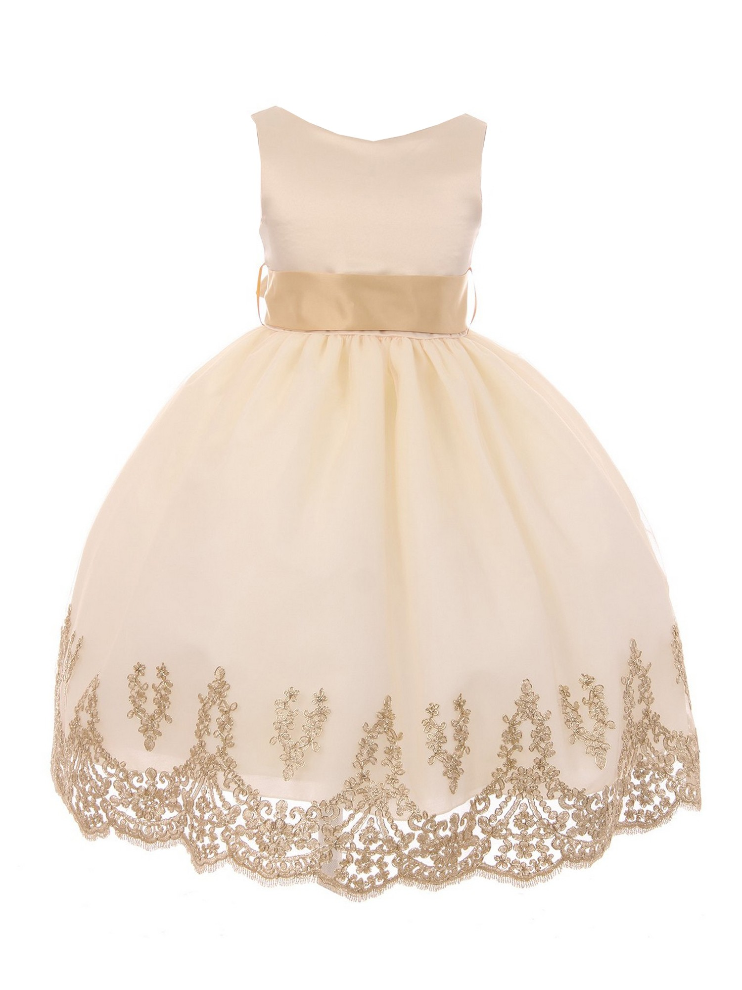 Big Girls Taupe Gold Lace Embroidered
