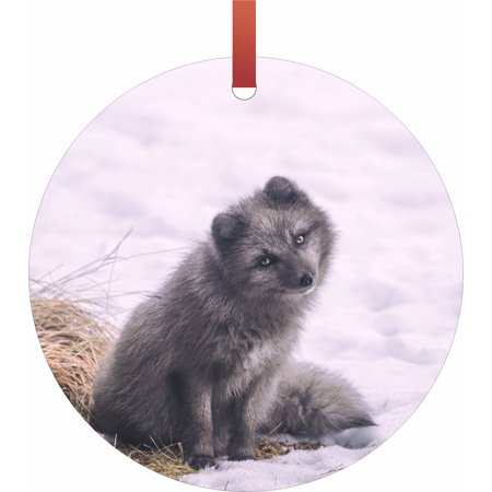 Black Fox Cub in the Snow Flat Round - Shaped Christmas Holiday Hanging Tree Ornament Disc Made in the U.S.A.