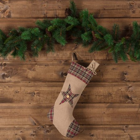 Natural Tan Rustic Christmas Decor Clement Star Fabric Loop Jute Appliqued Buttons Stocking (Stocking Stars)