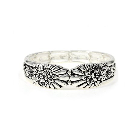 Beautiful Designer Inspired Texture Cute Fashion Silver Tone Stretch Bracelet Designer Inspired Animal