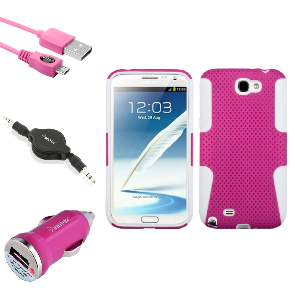 Insten White/Pink Hybrid Case Cord Charger Audio Cable For Samsung Galaxy Note 2