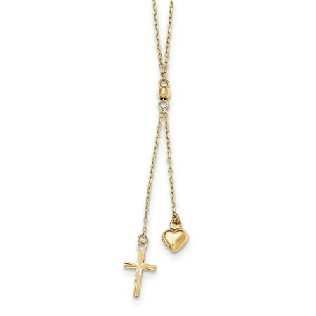 16in Cross - 14K Yellow Gold Puffed Heart and Diamond-Cut Cross Graduated Necklace Chain with 2in Ext Necklace -16