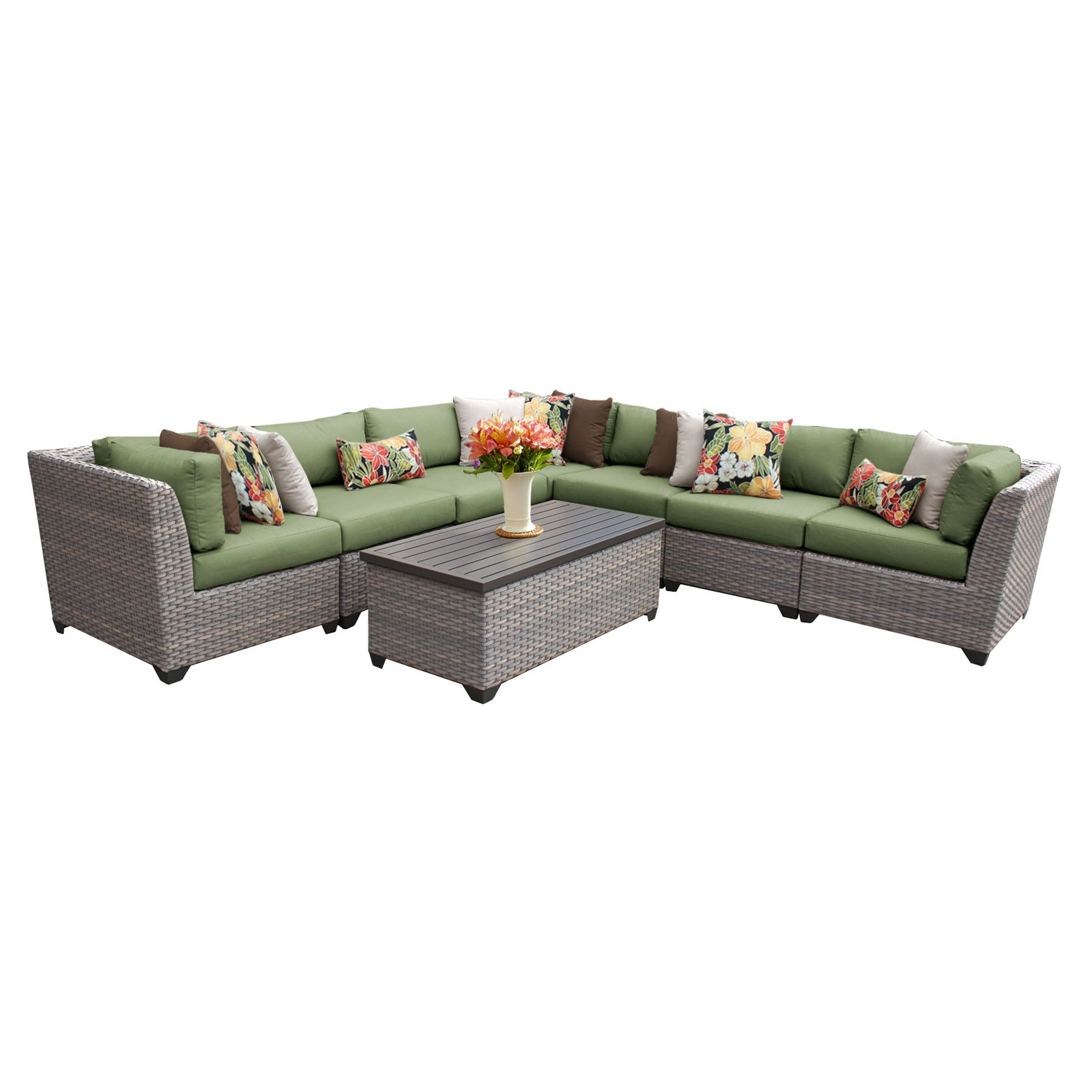 TK Classics Florence Wicker 8 Piece Patio Conversation Set with 2 Sets of Cushion Covers by Delacora