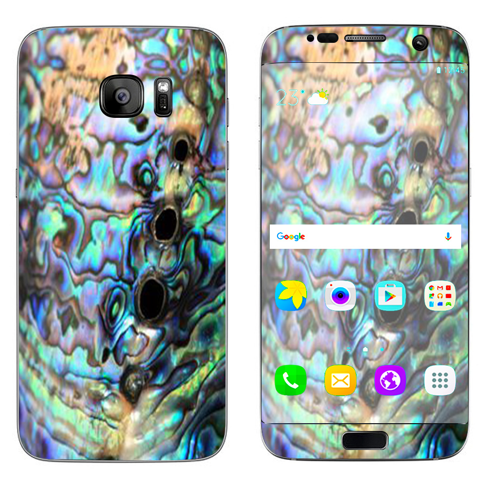 Skin Decal For Samsung Galaxy S7 Edge / Abalone Swirl Shell Design Blue