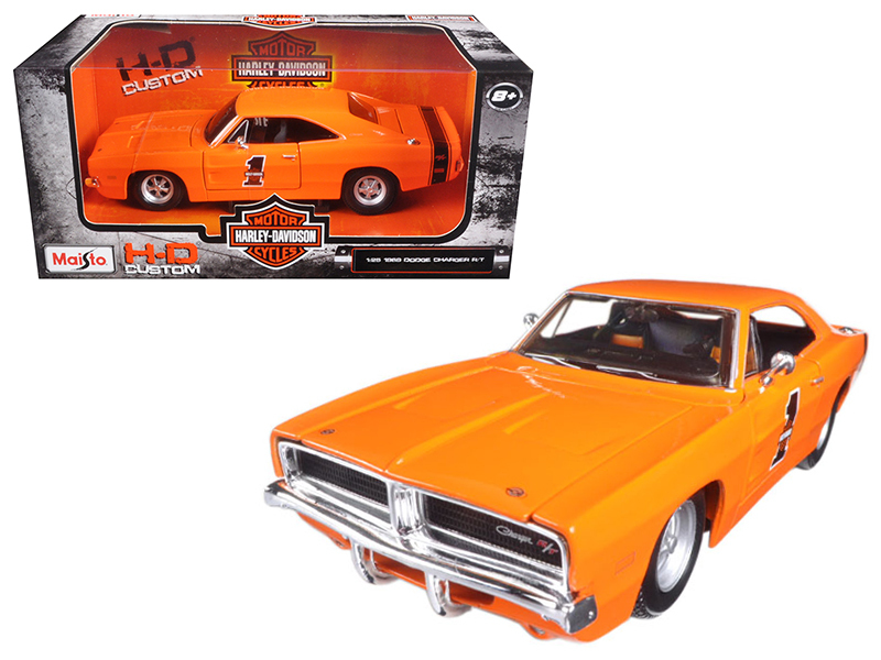 1969 Dodge Charger R T Harley Davidson Orange 1 25 Diecast Model Car by Maisto by Maisto International Inc