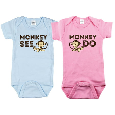5f9da5365 Nursery Decals and More - Nursery Decals and More Brand: Outfits for Twin  Boy and Girls, Includes 2 Bodysuits, 3-6 Month Monkey See - Walmart.com