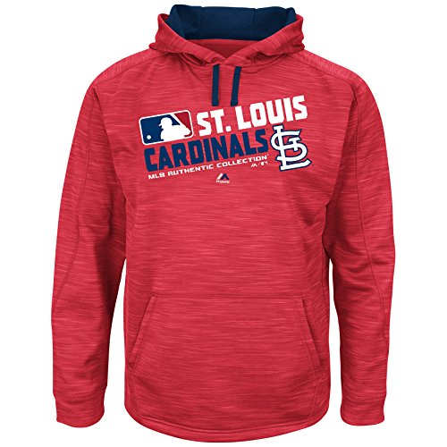 MLB Men's Big and Tall On-Field Team Choice Streak Therma Base Fleece Hoodie (5XL, St. Louis Cardinals)