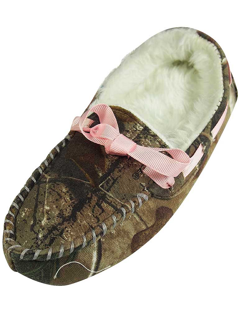 Realtree - Girls Camo Moccasin Slipper with Pink Ribbon - 30 Day Guarantee - FREE SHIPPING