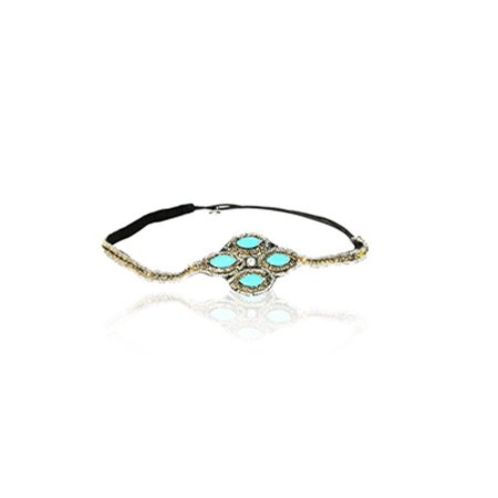 """ Turquoise Blue Stone with Diamond Crystal Cross Headband Rhinestone Elastic Stretch Headband with Style Guide 20 Different Ways to Wear for Graduation.... """