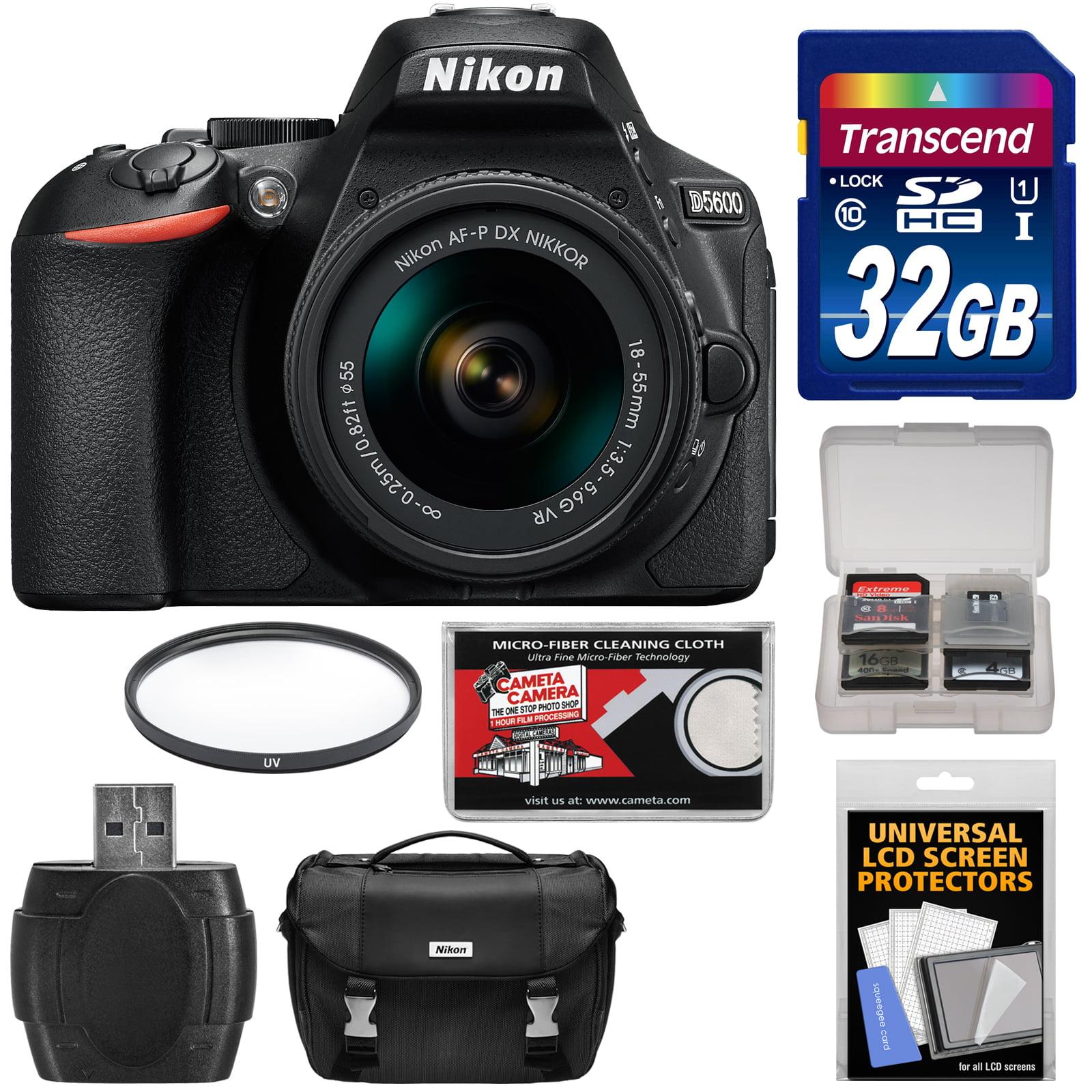 Nikon D5600 Digital SLR Camera & 18-55mm VR DX AF-P Lens - Refurbished with 32GB Card + Case + Filter + Reader + Kit
