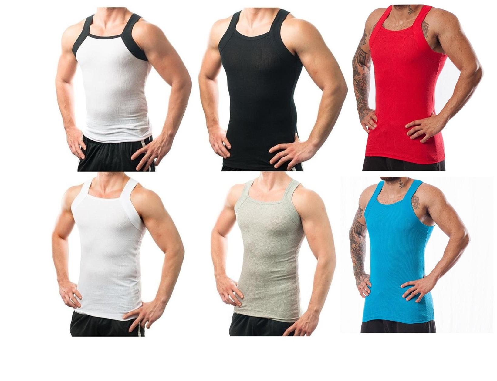 b745fe62b4e08 Different Touch - 6 Pack Men s G-Unit Style Square Cut Underwear Shirt Tank  tops A-shirts M - Walmart.com