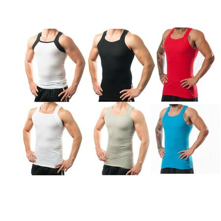 0c06c012 Different Touch - 6 Pack Men's G-Unit Style Square Cut Underwear Shirt Tank  tops A-shirts M - Walmart.com