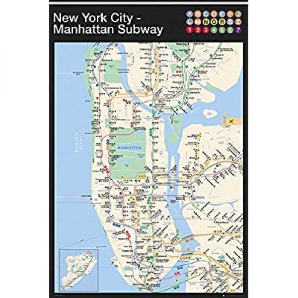 Ny Subway Map Manhattan.New York Manhattan Subway Map 24x36 Art Print Poster Walmart Com
