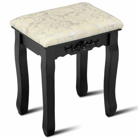 Costway Dressing Stool Vanity Wave Design Makeup Pad Cushioned Chair Piano Seat (Fairmont Designs 24 Vanity)