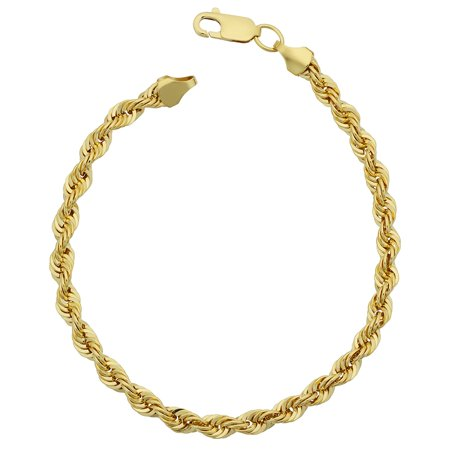 14K Yellow Gold filled Solid Rope Chain Bracelet, 4.5mm, 8.5