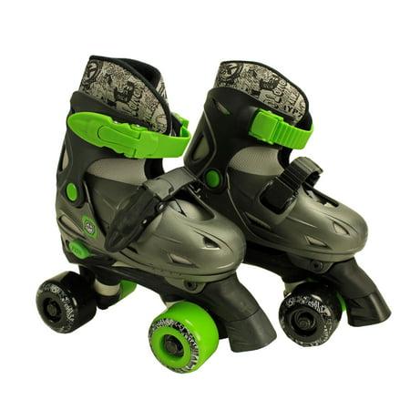 NEW! Kryptonics Sacred Youth Size 10-13 Quad Wheel Roller Skates Green & Black