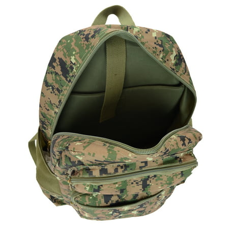 3f223c22d3 Montauk Leather Club - Military Camouflage Print Water Resistant Backpack  with 2 Front Zipper Pockets - Walmart.com