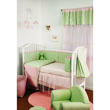 Seed Sprout Damask 4 Piece Crib Bedding Set Pink And
