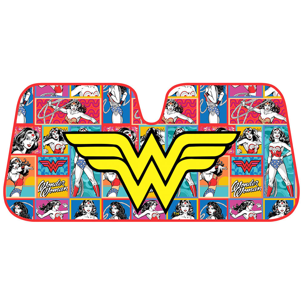 Wonder Woman Auto Sun Shade - Windshield Car Sunshade - Yellow Logo w/ Retro Cartoon Background