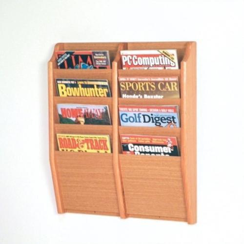 Wooden Mallet 8 Pocket Magazine Wall Rack in Light Oak