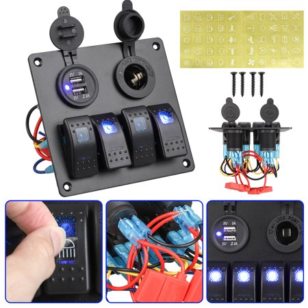 TSV Waterproof 4 Gang 5 Pin Marine Boat RV Ignition Toggle Rocker Switch Panel with 12-24V Dual USB Charger Adapter Cigarette Lighter Socket For Marine Car Vehicle Truck - Marine Ignition