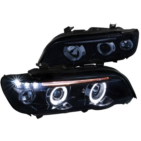 Spec-D Tuning For 2001-2003 Bmw E53 X5 Dual Halo Led Glossy Black Projector Headlights (Left+Right) Smoke Lens ()