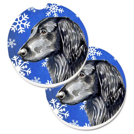 Flat Coated Retriever Winter Snowflakes Holiday Set of 2 Cup Holder Car Coaster - image 1 de 1